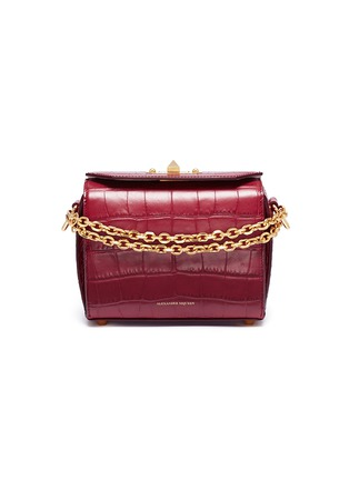 Main View - Click To Enlarge - Alexander McQueen - 'Box Bag 19' in croc embossed leather