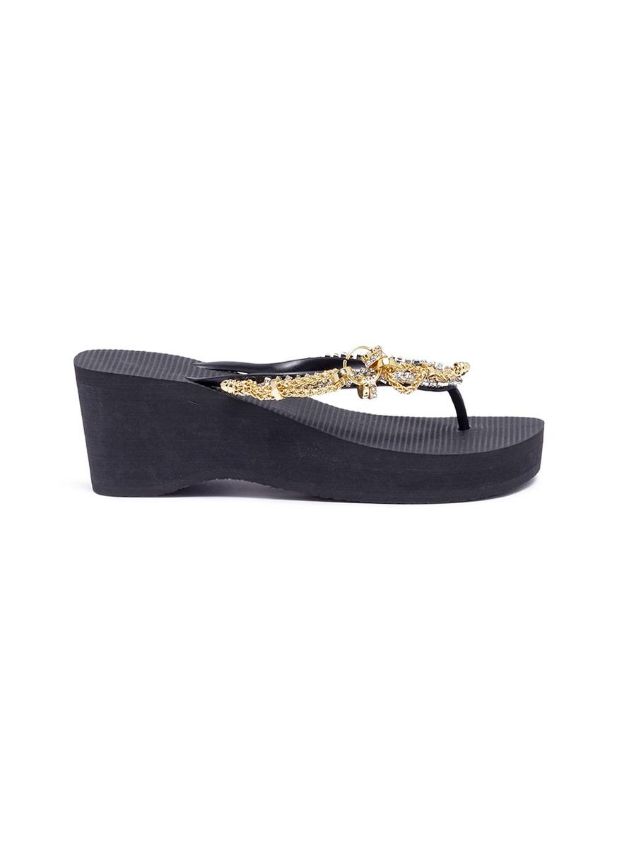 Flamengo High Heel crystal chain wedge thong sandals by Uzurii