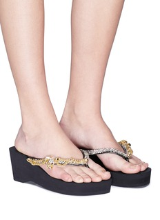 Uzurii 'Flamengo High Heel' crystal chain wedge thong sandals