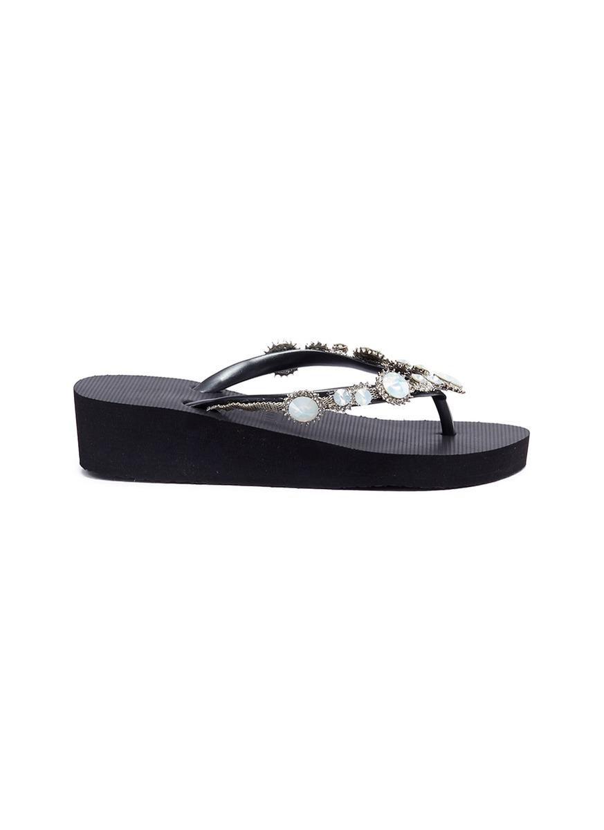 Pearl Marilyn Mid Heel crystal wedge thong sandals by Uzurii