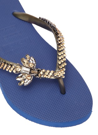 Detail View - Click To Enlarge - UZURII - 'Goldy Fly' embellished thong sandals