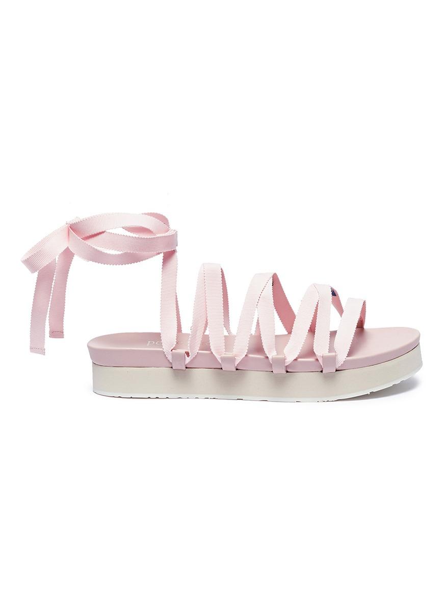 x Temperley London Lara lace-up ribbon platform sandals by Pedro García