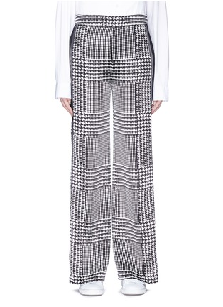 Main View - Click To Enlarge - VICTORIA, VICTORIA BECKHAM - Stripe outseam houndstooth print silk satin pants