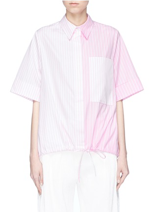 Main View - Click To Enlarge - VICTORIA, VICTORIA BECKHAM - Drawstring hem contrast stripe shirt