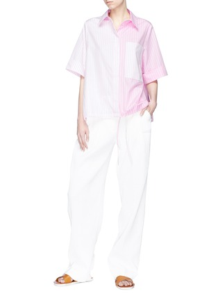 Figure View - Click To Enlarge - VICTORIA, VICTORIA BECKHAM - Drawstring hem contrast stripe shirt