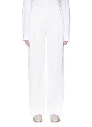 Main View - Click To Enlarge - VICTORIA, VICTORIA BECKHAM - Pleated seersucker pants
