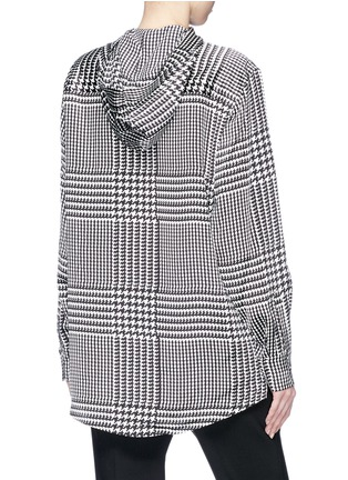 Back View - Click To Enlarge - VICTORIA, VICTORIA BECKHAM - Houndstooth print hooded silk satin shirt