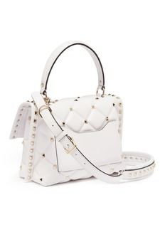 Valentino 'Candystud' logo print quilted leather satchel bag