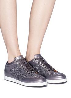 Jimmy Choo 'Miami' leather trim star coarse glitter sneakers