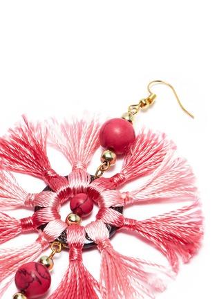 Detail View - Click To Enlarge - Kenneth Jay Lane - Beaded tassel hoop earrings
