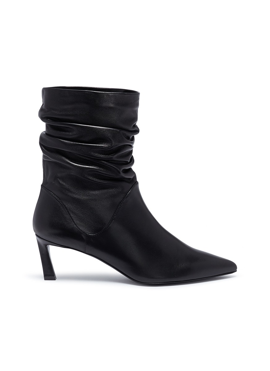 Demibenatar ruched leather ankle boots by Stuart Weitzman