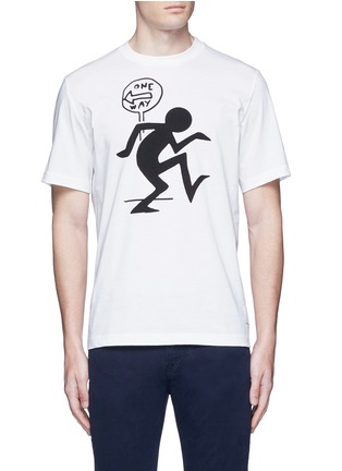 Main View - Click To Enlarge - PS PAUL SMITH - 'One Way' print T-shirt