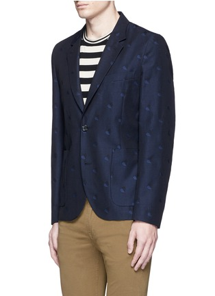 Front View - Click To Enlarge - PS Paul Smith - Heart jacquard cotton-wool blazer