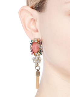 Anton Heunis Swarovski crystal pearl tassel earrings