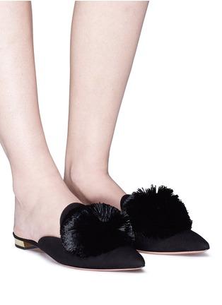 fa3436ce0255 Figure View - Click To Enlarge - Aquazzura -  Powder Puff  pompom suede  slippers
