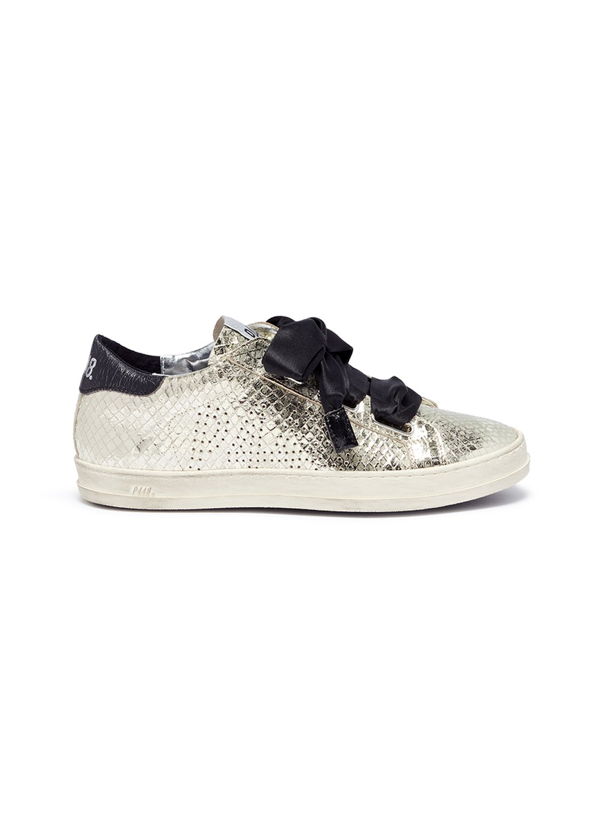 Ralph bow tie croc embossed leather sneakers by P448