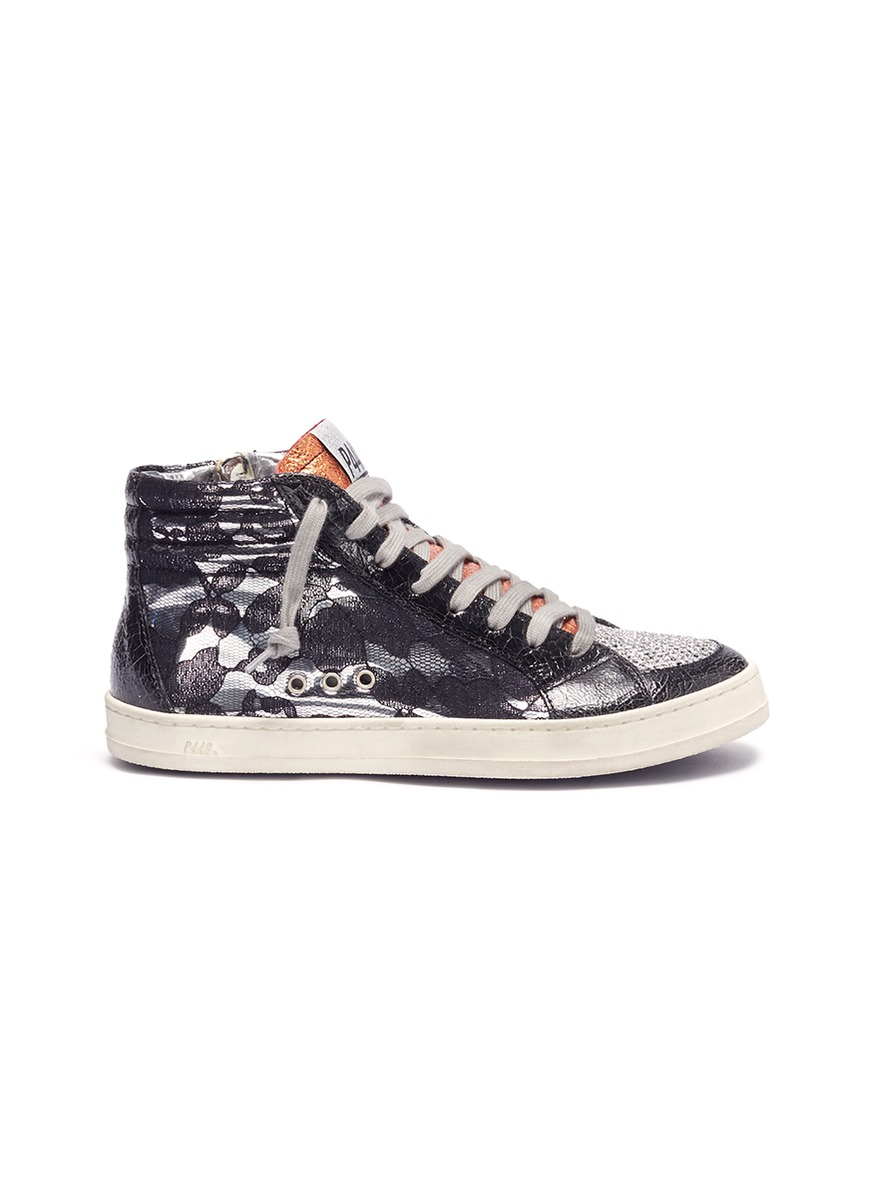 Floral guipure lace panel leather high top sneakers by P448