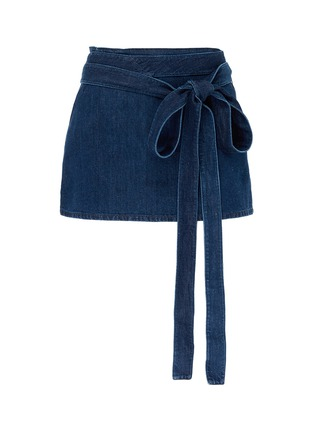 Main View - Click To Enlarge - JW Anderson - 'Lea' sash tie mini denim skirt