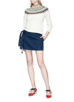 Figure View - Click To Enlarge - JW Anderson - 'Lea' sash tie mini denim skirt
