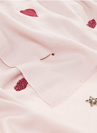 Detail View - Click To Enlarge - Janavi - 'Hearts and Match Sticks' embellished Merino wool scarf
