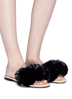 Avec Modération 'Bora Bora' pompom leather slide sandals