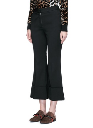 Front View - Click To Enlarge - Stella McCartney - Flared cuff cropped wool crepe pants