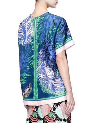 Back View - Click To Enlarge - Emilio Pucci - Feather print silk twill top