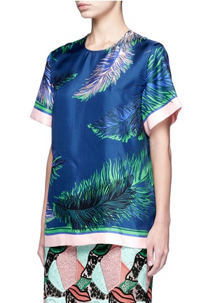 Front View - Click To Enlarge - EMILIO PUCCI - Feather print silk twill top