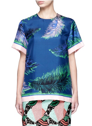 Main View - Click To Enlarge - EMILIO PUCCI - Feather print silk twill top