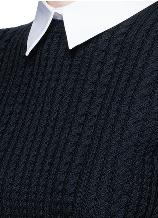 Detail View - Click To Enlarge - alice + olivia - 'Gila' cable knit sweater