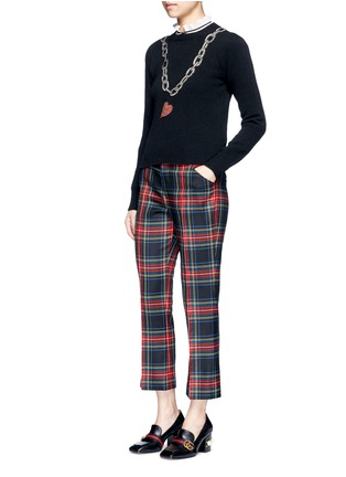 Figure View - Click To Enlarge - Gucci - Rhinestone heart and chain wool sweater