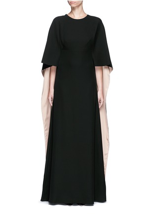 Main View - Click To Enlarge - Valentino - Open back cape sleeve silk gown