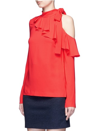 Front View - Click To Enlarge - EMILIO PUCCI - Cutout shoulder ruffle cady top