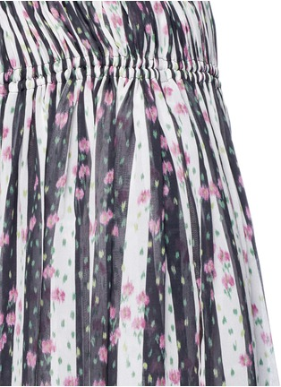 Detail View - Click To Enlarge - Lanvin - Stripe floral print silk maxi skirt