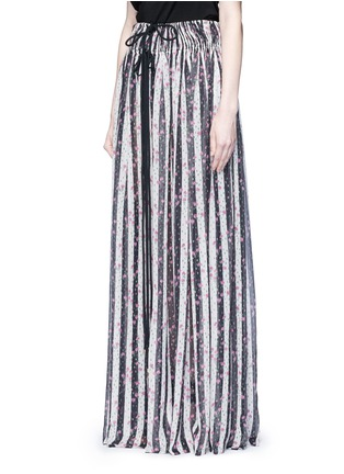 Front View - Click To Enlarge - Lanvin - Stripe floral print silk maxi skirt
