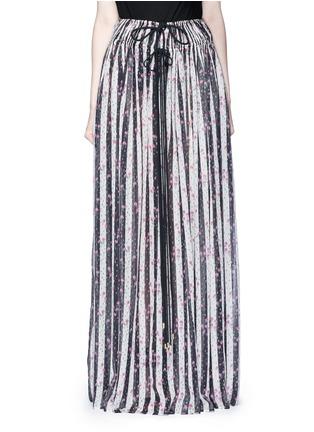 Main View - Click To Enlarge - Lanvin - Stripe floral print silk maxi skirt