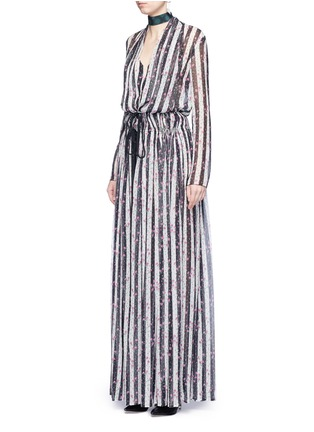 Figure View - Click To Enlarge - Lanvin - Stripe floral print silk maxi skirt