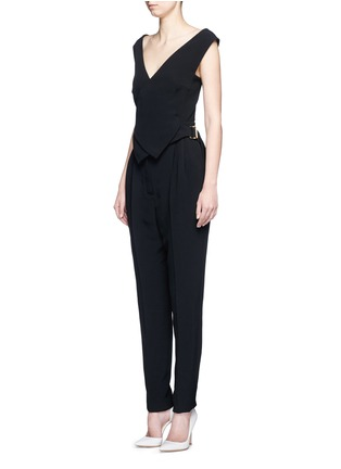 Front View - Click To Enlarge - Lanvin - Buckled waist tailored suiting jumpsuit