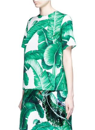 Front View - Click To Enlarge - Dolce & Gabbana - Banana leaf print poplin top
