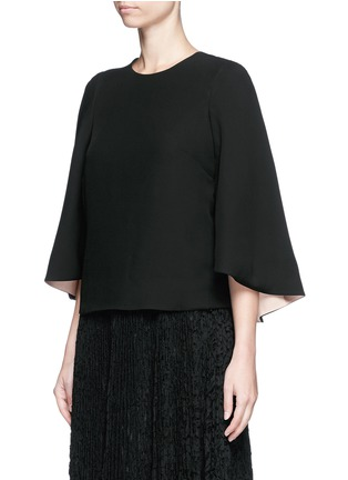 Front View - Click To Enlarge - Valentino - Open back batwing sleeve silk top