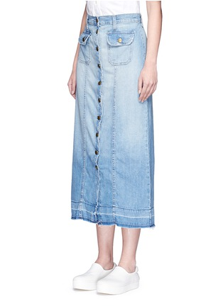 Front View - Click To Enlarge - CURRENT/ELLIOTT - 'The Sally' raw hem button skirt