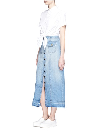 Figure View - Click To Enlarge - CURRENT/ELLIOTT - 'The Sally' raw hem button skirt