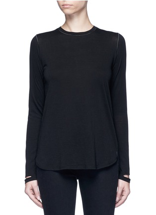 Main View - Click To Enlarge - Helmut Lang - 'Detached cuff' cotton-cashmere T-shirt