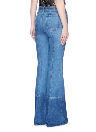 Back View - Click To Enlarge - Alexander McQueen - Contrast wash flared denim pants