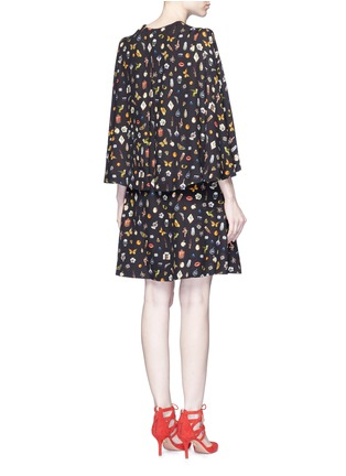 Back View - Click To Enlarge - ALEXANDER MCQUEEN - Obsession print slit sleeve cape dress
