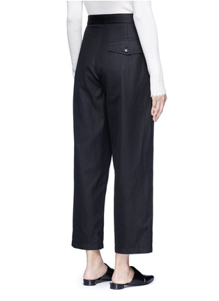 Back View - Click To Enlarge - Helmut Lang - Cropped cotton-linen wide leg pants