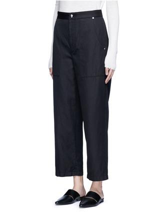Front View - Click To Enlarge - HELMUT LANG - Cropped cotton-linen wide leg pants