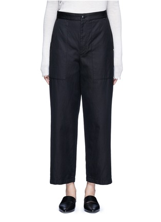 Main View - Click To Enlarge - Helmut Lang - Cropped cotton-linen wide leg pants