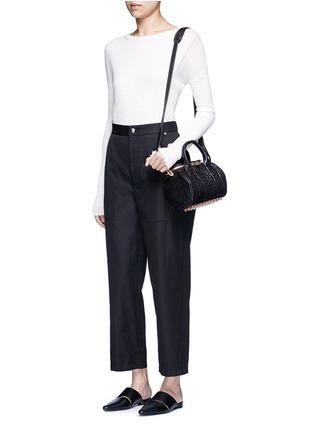 Figure View - Click To Enlarge - Helmut Lang - Cropped cotton-linen wide leg pants