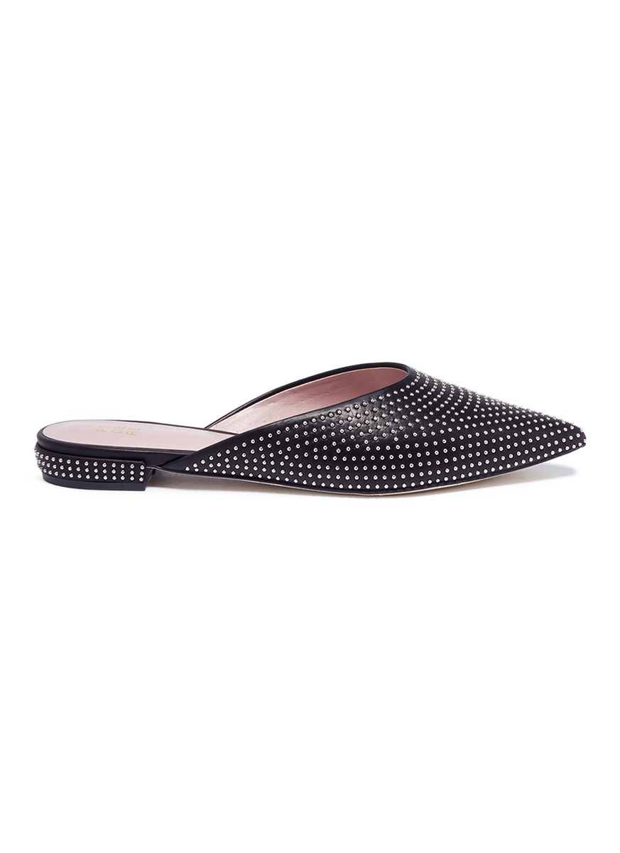 Vic stud pavé leather slides by Pedder Red